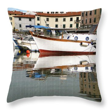Reflections Along The Canal Throw Pillow