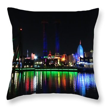 Reflections At Night Throw Pillow