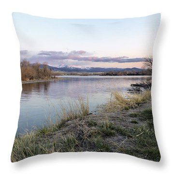 Reflections At Sunset At The Helena Reservoir Throw Pillow by Dana Moyer