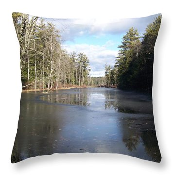 Reflections Caught On Ice At A Pretty Lake In New Hampshire Throw Pillow