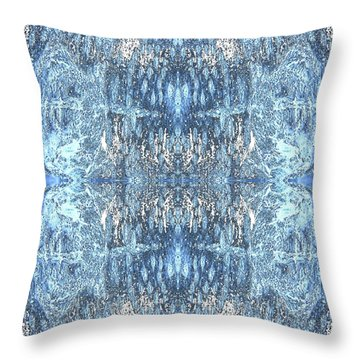 Throw Pillow featuring the digital art Reflections In Blue by Stephanie Grant