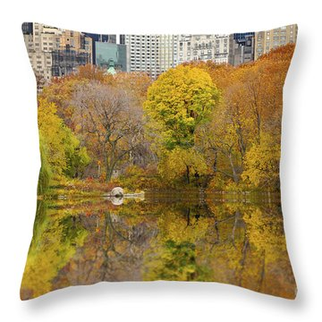 Reflections In Central Park New York City Throw Pillow by Sabine Jacobs