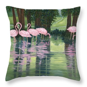 Throw Pillow featuring the painting Reflections In Pink by Karen Zuk Rosenblatt