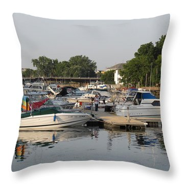 Reflections In The Small Boat Harbor Throw Pillow by Kay Novy
