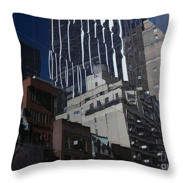 Reflections Of A City Throw Pillow by Karol Livote