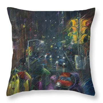 Reflections Of A Rainy Night Throw Pillow by Leela Payne