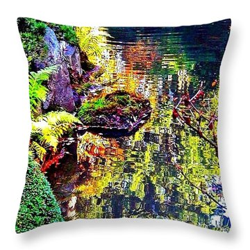Reflections Of Autumn Throw Pillow by Anna Porter