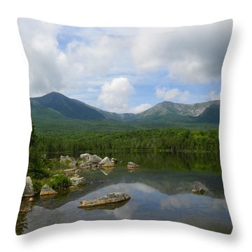 Reflections Of Katahdin At Sandy Stream Pond Throw Pillow