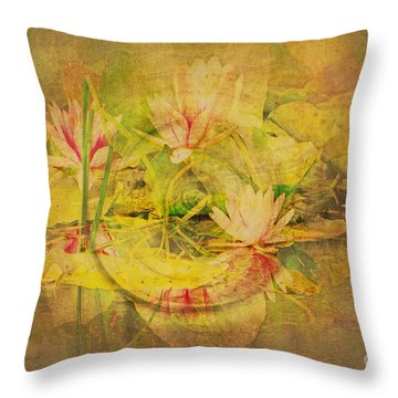 Reflections Of Monet's Lilies Throw Pillow by MaryJane Armstrong