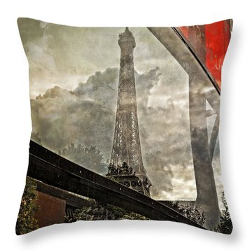 Reflections Of Paris Throw Pillow by Mary Machare