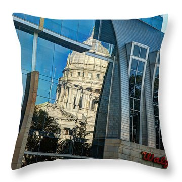 Reflections Of The Capitol Throw Pillow by Janice Adomeit