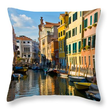 Reflections Of Venice II Throw Pillow by Sheila Laurens