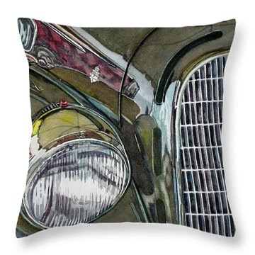 Throw Pillow featuring the painting Reflections On 1931 Alfa Romeo Milano by Anna Ruzsan