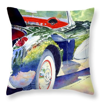 Throw Pillow featuring the painting Reflections On A Corvette by Roger Rockefeller