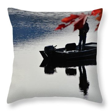 Reflections On Fishing Throw Pillow
