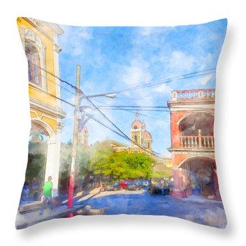 Reflections On Historic Granada - Nicaragua Throw Pillow