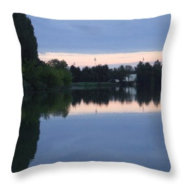 Reflections On La Saone Throw Pillow