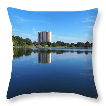 Throw Pillow featuring the photograph Reflections On Lake Silver 002 by Chris Mercer