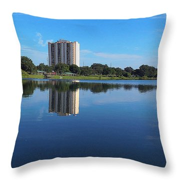 Throw Pillow featuring the photograph Reflections On Lake Silver 003 by Chris Mercer