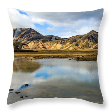 Reflections On Landmannalaugar Throw Pillow by Peta Thames