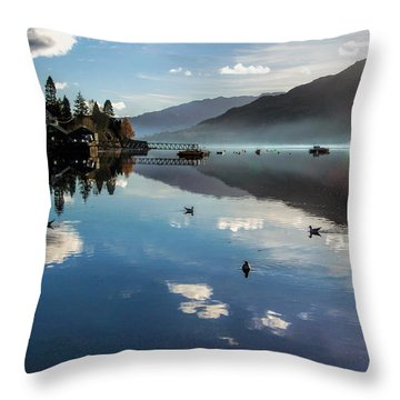 Reflections On Loch Goil Scotland Throw Pillow