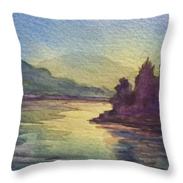 Throw Pillow featuring the painting Reflections On North South Lake by Ellen Levinson