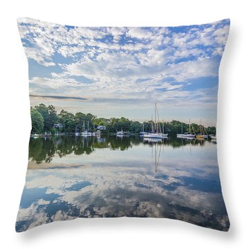 Reflections On The Magothy River Throw Pillow