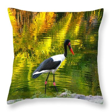 Reflective Crane Throw Pillow by Erick Schmidt