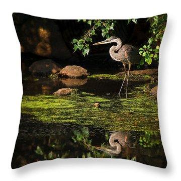 Reflective Heron Throw Pillow by Sylvia J Zarco
