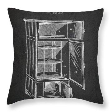 Refrigerator Patent From 1901 - Dark Throw Pillow