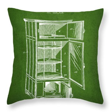 Refrigerator Patent From 1901 - Green Throw Pillow