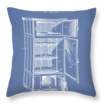 Refrigerator Patent From 1901 - Light Blue Throw Pillow