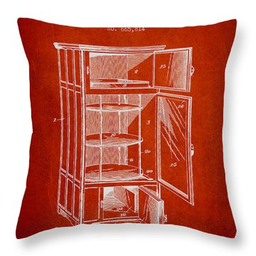 Refrigerator Patent From 1901 - Red Throw Pillow