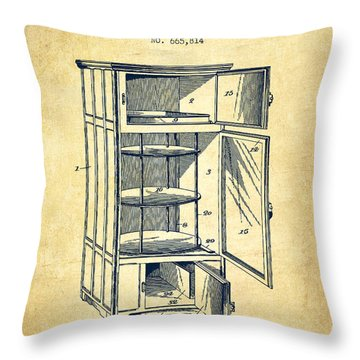 Refrigerator Patent From 1901 - Vintage Throw Pillow