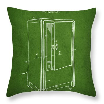 Refrigerator Patent From 1942 - Green Throw Pillow
