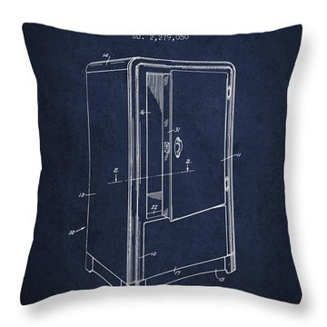 Refrigerator Patent From 1942 - Navy Blue Throw Pillow