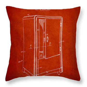 Refrigerator Patent From 1942 - Red Throw Pillow