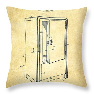 Refrigerator Patent From 1942 - Vintage Throw Pillow