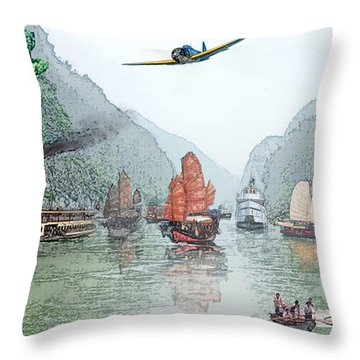 Refugees On The Yangtze Throw Pillow