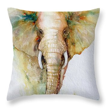 Regal Gold Elephant Throw Pillow