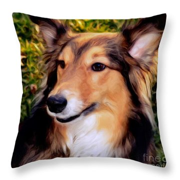 Dog - Collie - Regal Shelter Dog Throw Pillow by Luther Fine Art