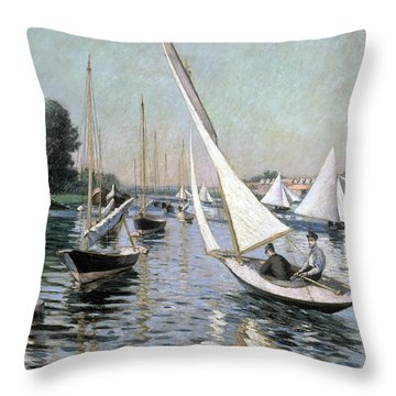Regatta At Argenteuil Throw Pillow by Gustave Caillebotte