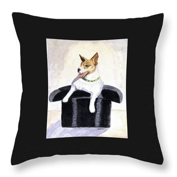 Throw Pillow featuring the painting Reggie In A Top Hat  by Angela Davies