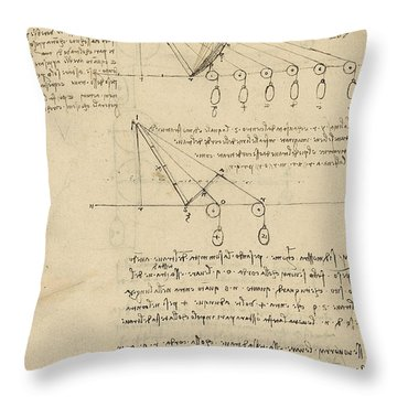 Register Of Milan Cathedral Weight And Study Of Relationship Between Position Of Beam Throw Pillow by Leonardo Da Vinci