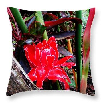 Regular Ginger Flower Throw Pillow by Tina M Wenger