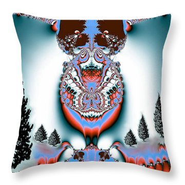 Reindeer Blues Throw Pillow by Maria Urso