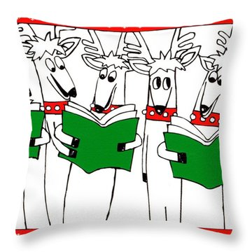 Reindeer Choir Throw Pillow by Genevieve Esson