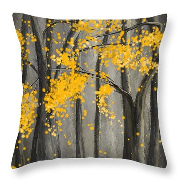 Rejuvenating Elements- Yellow And Gray Art Throw Pillow