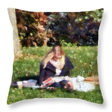 Relaxing In The Park Throw Pillow by Susan Savad