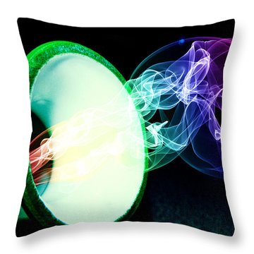 Throw Pillow featuring the mixed media Releasing The Rainbow Smoke by Ester  Rogers